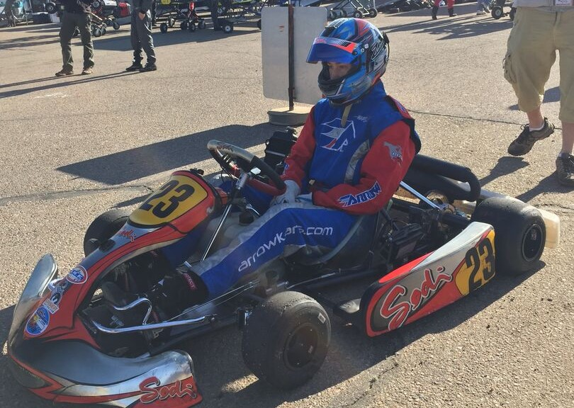 Quinton preparing to race in Skusa Pro Tour karting series